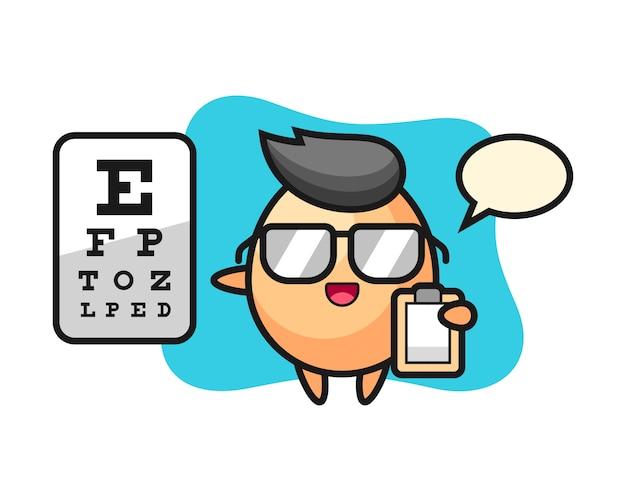 Illustrazione della mascotte dell'uovo come oftalmologia, stile carino per maglietta, adesivo, elemento logo
