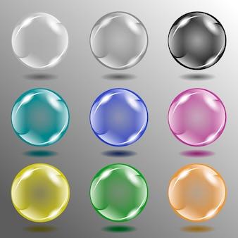Illustrazione. otto diversi colori di palline di vetro sullo sfondo astratto