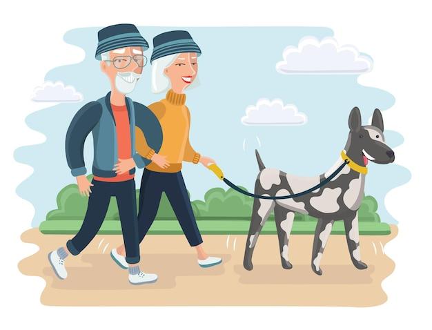 Illustrazione di una coppia di anziani che cammina con un grosso cane. nonna e nonno nel parco