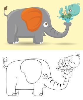 Illustrazione di elefanti e tartarughe