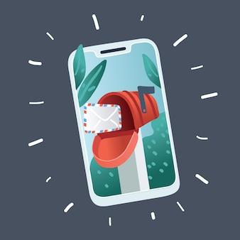 Illustrazione di email marketing e segno di notifica dei messaggi. smartphone su sfondo scuro.