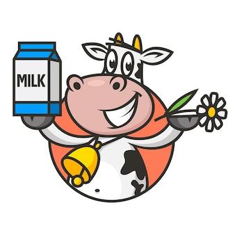 Illustrazione, mucca emblema tiene fiore e latte da imballaggio, formato eps 10