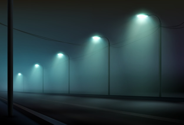 Illustrazione della strada vuota illuminata da lanterne nella nebbia la notte. illuminazione stradale in colore freddo