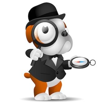 Illustrazione, bulldog inglese tiene lente d'ingrandimento e bussola, formato eps 10