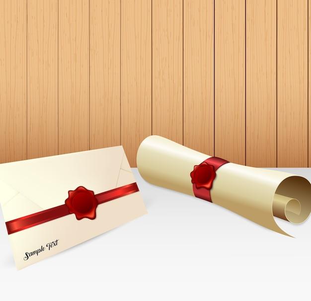 Illustrazione della busta con rotolo di carta e sigillo di cera rossa