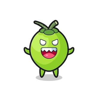 Illustrazione del personaggio malvagio della mascotte della noce di cocco