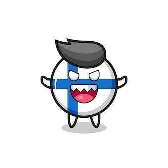 Illustrazione del personaggio della mascotte del distintivo della bandiera della finlandia malvagia, design in stile carino per maglietta, adesivo, elemento logo