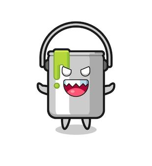 Illustrazione del personaggio mascotte di latta di vernice malvagia, design in stile carino per maglietta, adesivo, elemento logo
