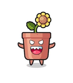 Illustrazione del personaggio mascotte del vaso di girasole malvagio, design in stile carino per maglietta, adesivo, elemento logo