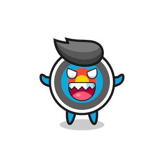 Illustrazione del personaggio mascotte tiro con l'arco bersaglio malvagio, design in stile carino per maglietta, adesivo, elemento logo