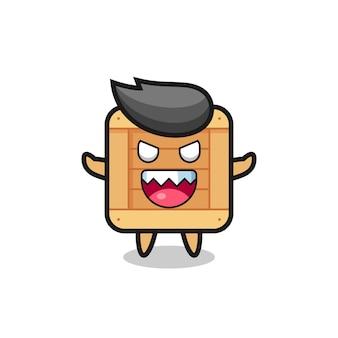 Illustrazione del personaggio mascotte della scatola di legno malvagio, design in stile carino per maglietta, adesivo, elemento logo