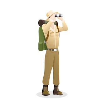 Illustrazione un explorer che utilizza il binocolo