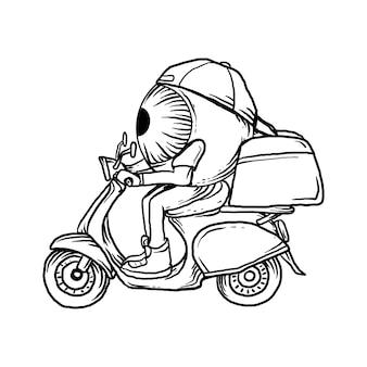 Illustrazione corriere palla occhio