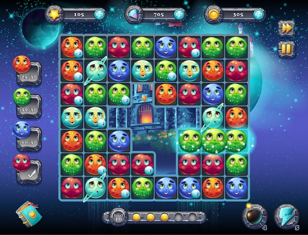 Illustrazione spazio favoloso con l'immagine della schermata di gioco