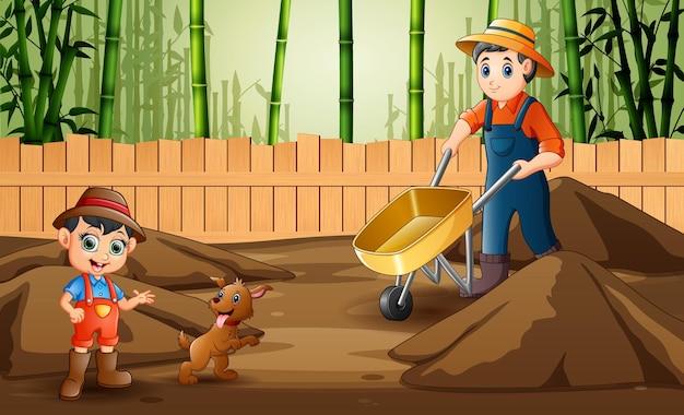 Illustrazione degli agricoltori che lavorano nella fattoria