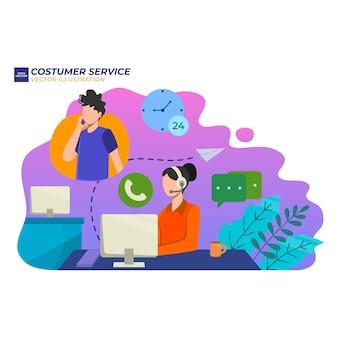 Illustrazione servizio clienti femminile. l'operatore della hotline consiglia il cliente, online