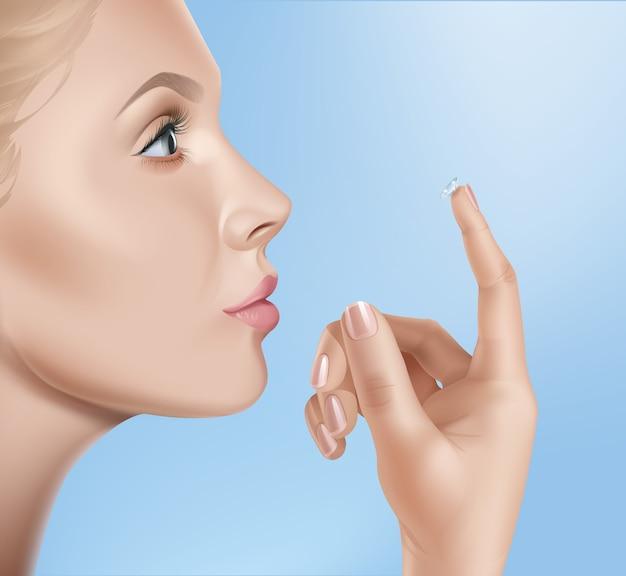Illustrazione del volto femminile e contatti per la visione