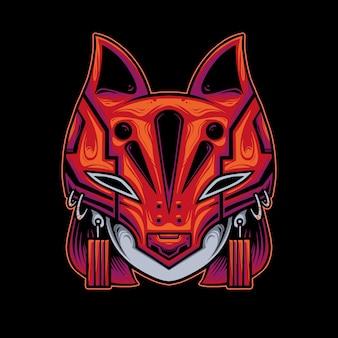 Illustrazione testa femminile che indossa la maschera kitsune
