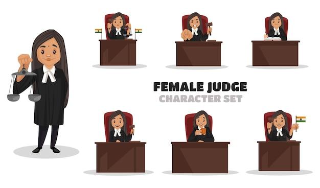Illustrazione di set di caratteri giudice femminile