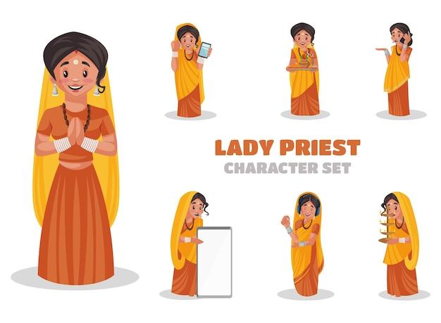 Illustrazione di set di caratteri sacerdote femminile