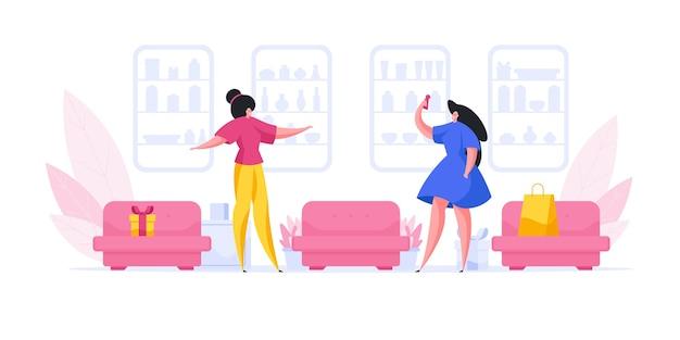 Illustrazione del venditore femminile in piedi vicino ai divani
