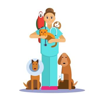 Illustrazione del veterinario femmina con simpatico animale domestico, cane, gatto, cavia e pappagallo.
