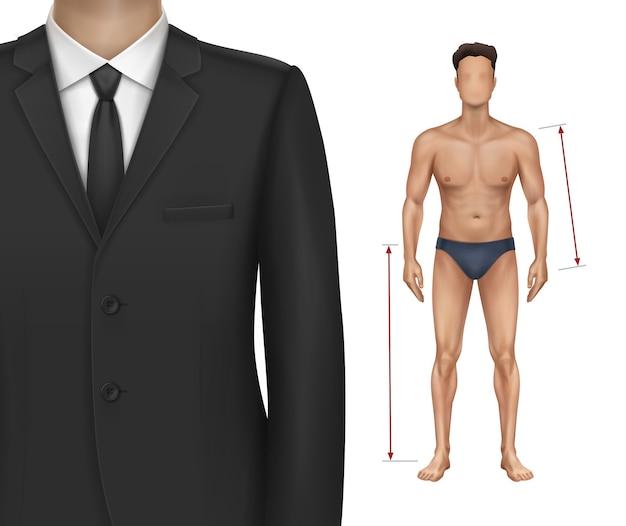 Illustrazione della figura del ragazzo, modello in biancheria intima
