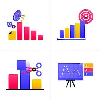 Illustrazione di finanza, affari, marketing, analisi finanziaria, grafici e raggiungimento degli obiettivi.