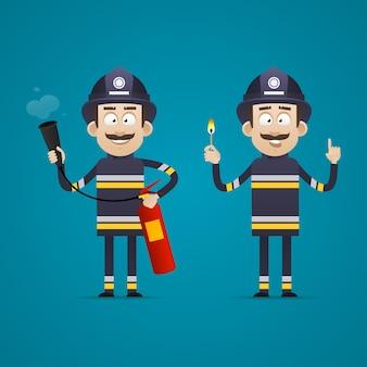 Illustrazione, pompiere tiene estintore e fiammifero acceso, formato eps 10