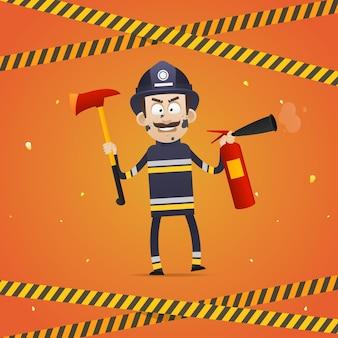 Illustrazione, il vigile del fuoco tiene l'estintore e l'ascia del pompiere, formato eps 10