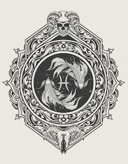 Simbolo dello zodiaco dei pesci dell'illustrazione con lo stile dell'ornamento dell'incisione
