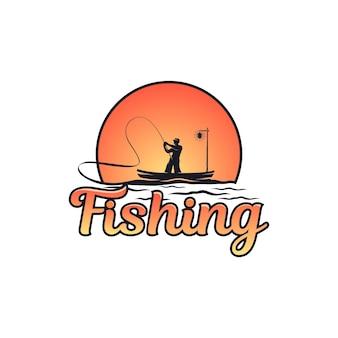 Illustrazione del pescatore in mare con l'icona del tramonto