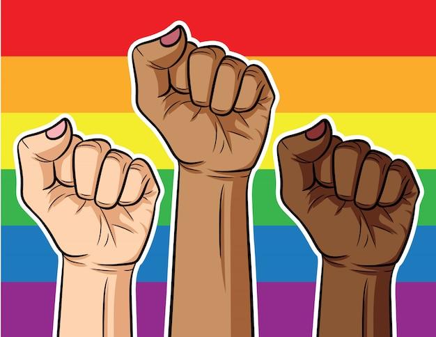 Illustrazione. il pugno su sfondo arcobaleno.