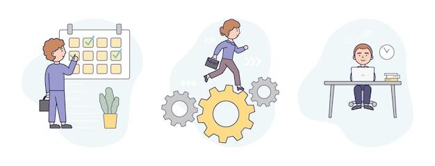 Illustrazione in stile cartone animato piatto di tre concetti aziendali insieme