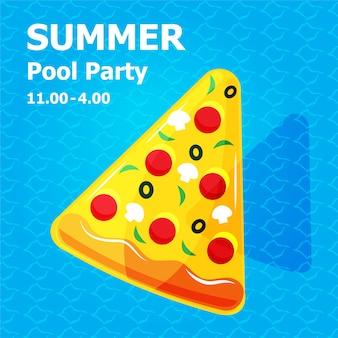 Illustrazione piatto simpatico cartone animato di gonfiabile o galleggiante sul concetto di festa in piscina estiva carta di invito
