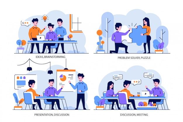 Illustrazione stile piatto e contorno design, idee, brainstorming, problem solver, puzzle, presentazione, discussione, riunione