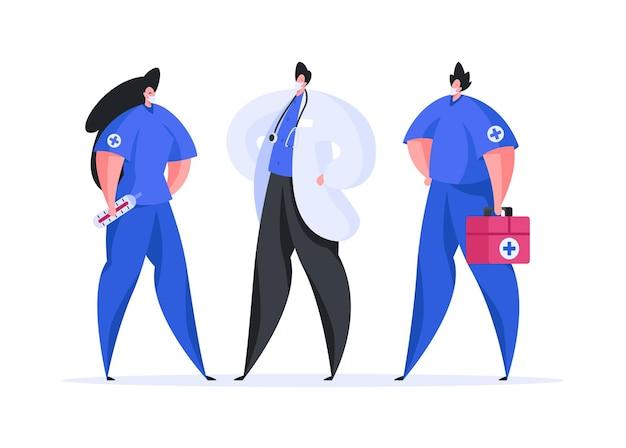 Illustrazione in stile piatto di infermiere maschio e femmina