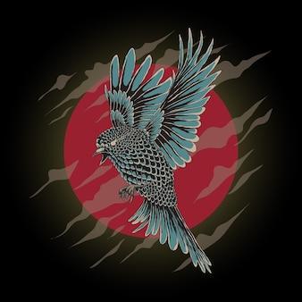 Illustrazione della nuvola astratta dell'uccello in volo e del cerchio rosso con stile disegnato a mano