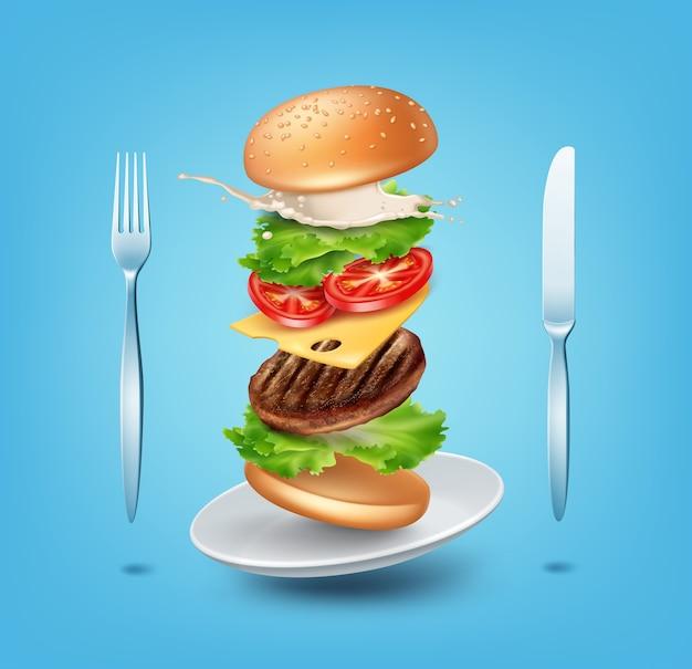 Illustrazione hamburger volante sul piatto con forchetta e coltello