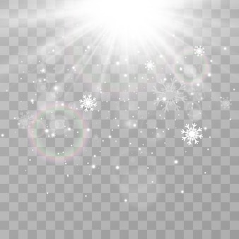 Illustrazione di neve volante fenomeno naturale di nevicate o bufera di neve