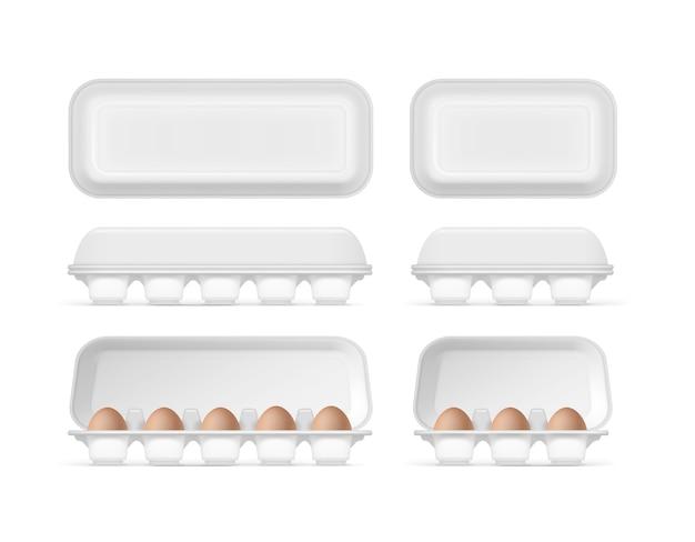 Illustrazione del set di contenitori in schiuma, confezionamento con uova di pollo crudo fresco marrone su sfondo bianco