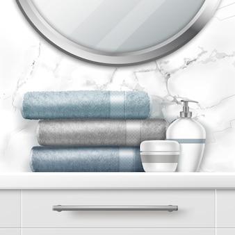 Illustrazione di asciugamani pieghevoli e sapone sul comò
