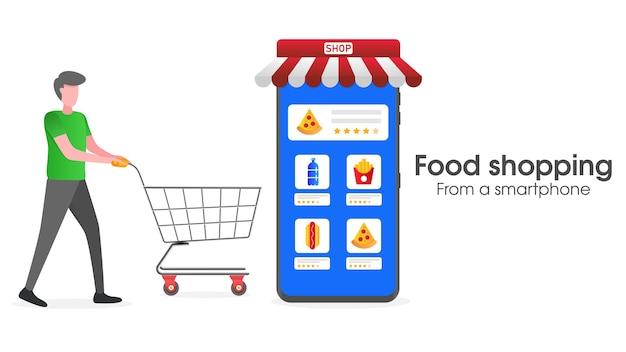 Illustrazione della spesa alimentare con uno smartphone