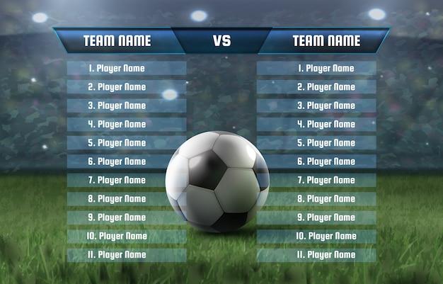 Illustrazione del tabellone segnapunti della squadra di calcio e del grafico della trasmissione di calcio delle statistiche globali. gruppi di campionato di torneo modello
