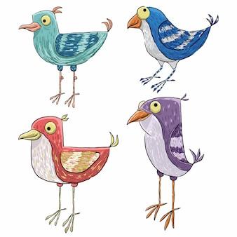 Un'illustrazione di quattro uccelli svegli dell'annata