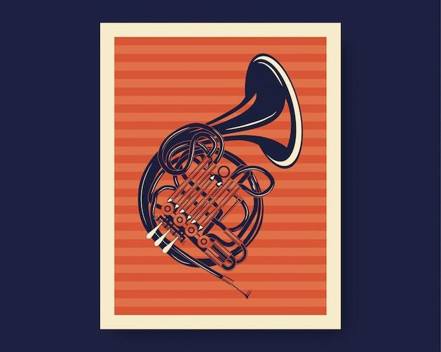 Illustrazione del corno o della tromba francese con stile d'annata classico