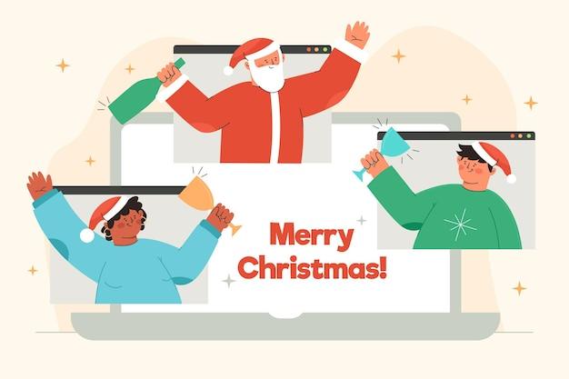 Illustrazione di amici che celebrano il natale online a causa della quarantena