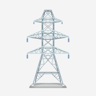 Illustrazione della vista frontale alla moderna torre elettrica di colore grigio metallo isolato su bianco