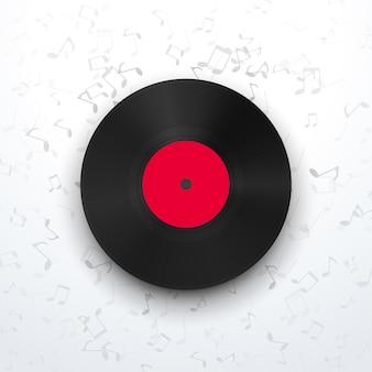 Illustrazione del disco in vinile vista frontale con ombra realistica su sfondo con segni di musica