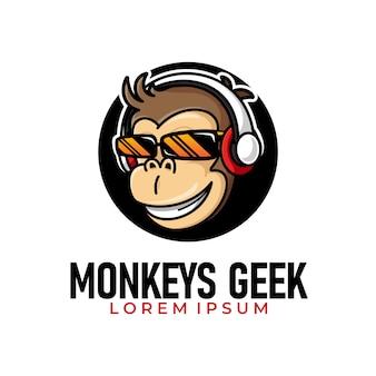 Illustrazione di geek scimmia funky indossando occhiali e cuffie